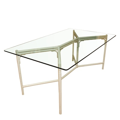 Glass Dining Table with White Metal Bamboo Style Base