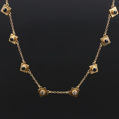 18K Yellow Gold Diamond and Sapphire Station Necklace