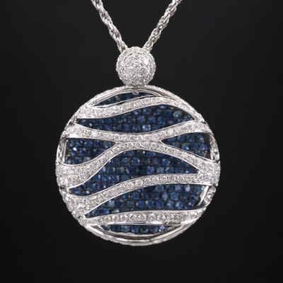 18K White Gold 2.26 CTW Diamond and Sapphire Pendant on 14K White Gold Chain