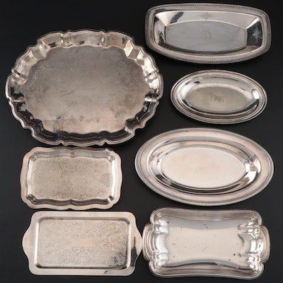 Silver Plate Platters and Trays Including a 25th Anniversary Footed Platter