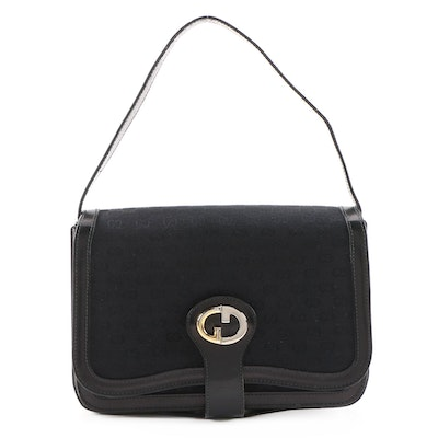 Gucci Black MicroGuccissima and Leather Shoulder Bag, Vintage