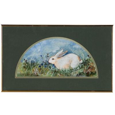 Joan Graber Folk Style Oil Painting of White Rabbit