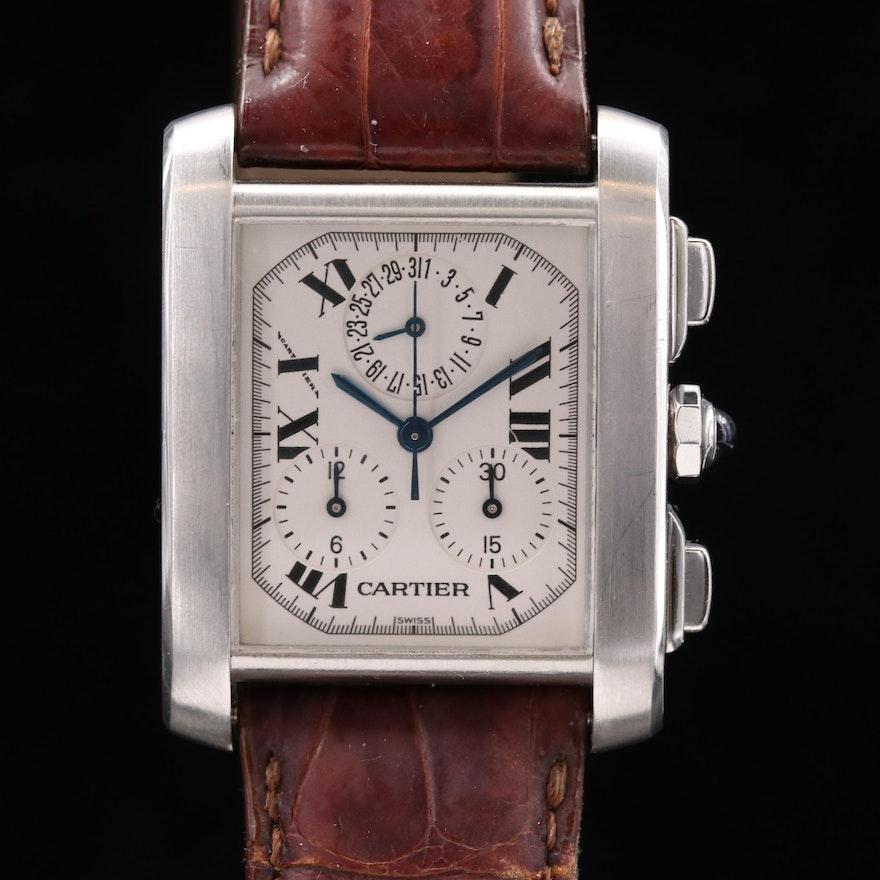 Cartier Tank Francaise Chronoflex Stainless Steel Quartz Wristwatch