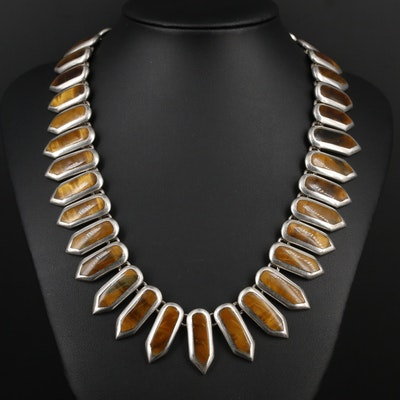 Escorcia Mexican Modernist Sterling Silver Tiger's Eye Necklace