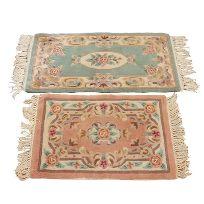 """2' x 4'6"""" and 2' x 3'5"""" Carved Aubusson Wool Accent Rugs"""