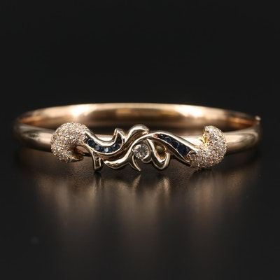 Vintage 14K Gold Blue Sapphire and 1.36 CTW Diamond Hinged Bangle Bracelet