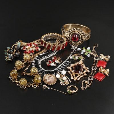 Assorted Jewelry Featuring Krementz, Vintage, Art Glass