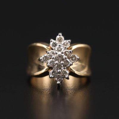 14K Yellow Gold 1.00 CTW Diamond Cluster Ring