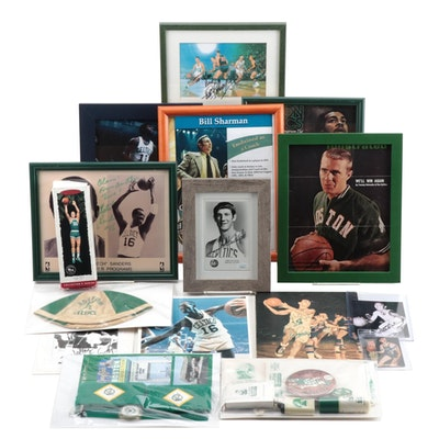 Boston Celtic Memorabilia, Autographs with Havlicek, Sharman, Cousy and Others