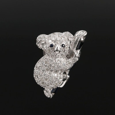 18K White Gold 1.26 CTW Diamond and Sapphire Koala Converter Brooch
