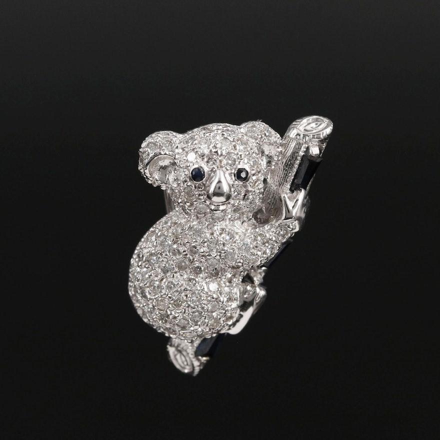 18K White Gold 1.26 CTW Diamond and Sapphire Koala Converter Brooch