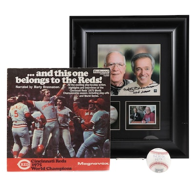 Marty Brennaman and Joe Nuxhall Signed Reds Collectibles with Hal McCoy Baseball