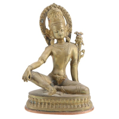 Cast Brass and Copper Figural of Meditating Shiva, Mid to Late 20th Century