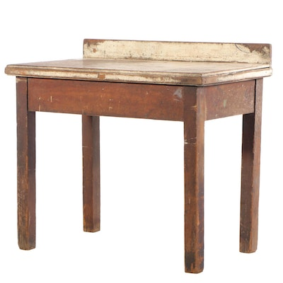 Industrial Painted Wood Standing Work Table, 20th Century