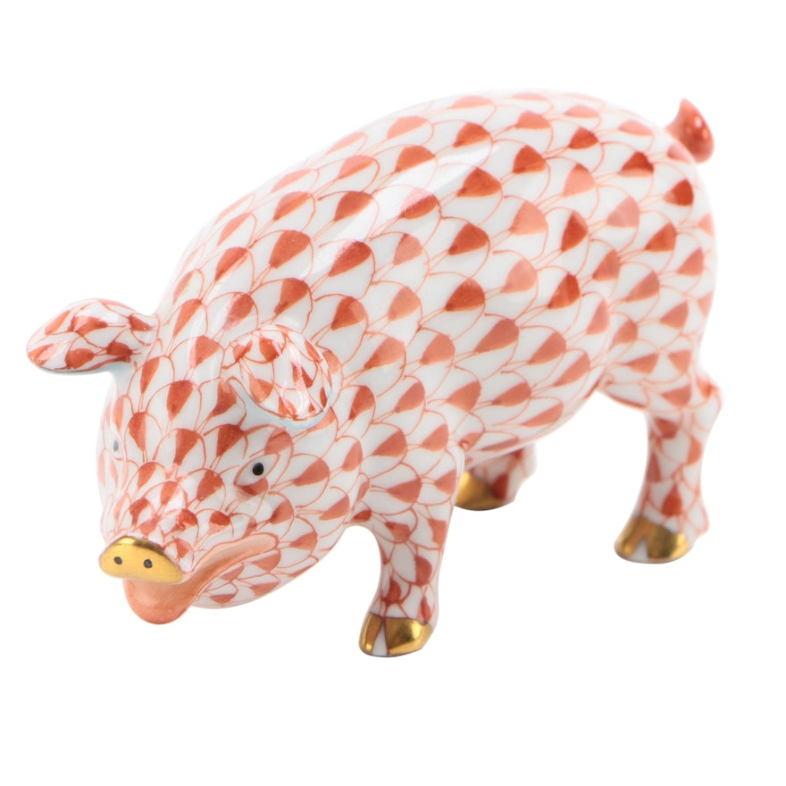 "Herend Rust Fishnet with Gold ""Pig"" Porcelain Figurine"