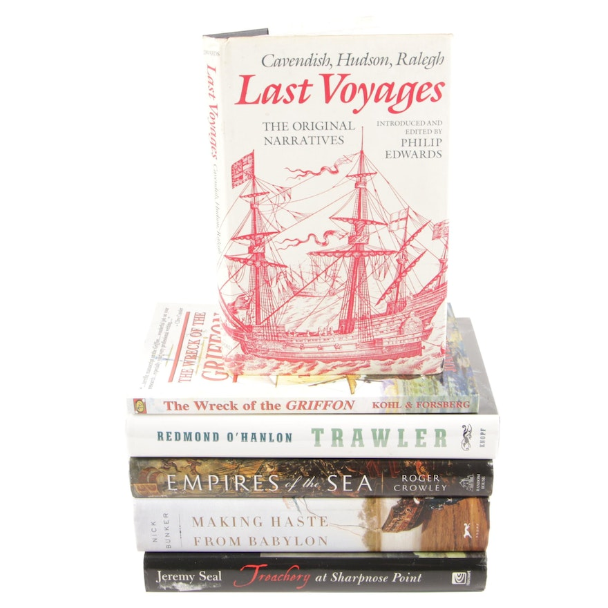 """Signed First Edition """"Last Voyages: Cavendish, Hudson, Ralegh"""" with Other Books"""