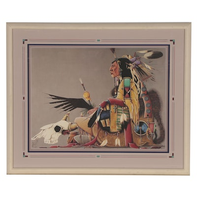 Tillier Wesley Offset Lithograph of Native American Chief, 1987
