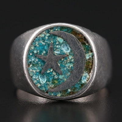 """Mexican Sterling Silver Stone and Resin """"Moon and Star"""" Motif Ring"""