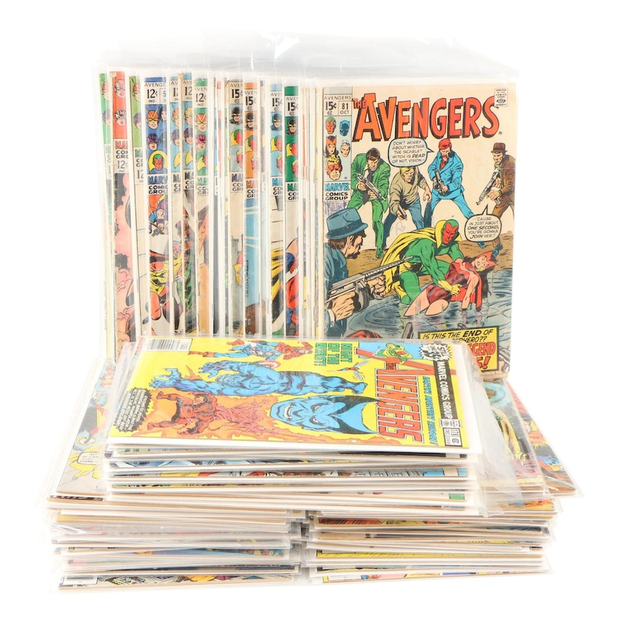 """Marvel """"The Avengers"""" Bronze Age Comic Books, 85 Issues, Early-Mid 1970s"""