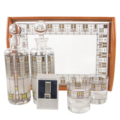 "Frank Lloyd Wright Foundation ""Tree of Life"" Glass Decanters, Glasses, and Tray"