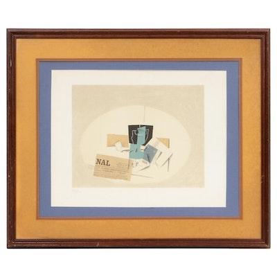 """Georges Braque Color Lithograph """"Le paquet de tabac 1914,"""" Mid-20th Century"""
