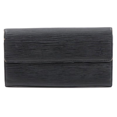 Louis Vuitton Black Epi Leather Sarah Continental Wallet