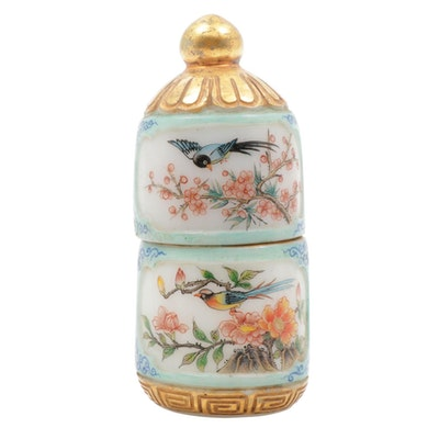 Chinese Hand-Painted Porcelain Snuff Bottle with Lid and Agate Stopper