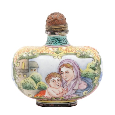 Chinese Hand-Painted Snuff Bottle with Mother and Child Motif