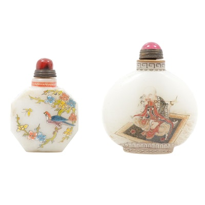 Chinese Hand-Painted Porcelain Snuff Bottles with Stone Stoppers