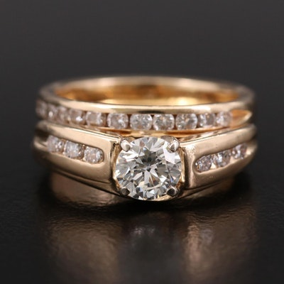14K Yellow Gold Diamond Ring and Diamond Band
