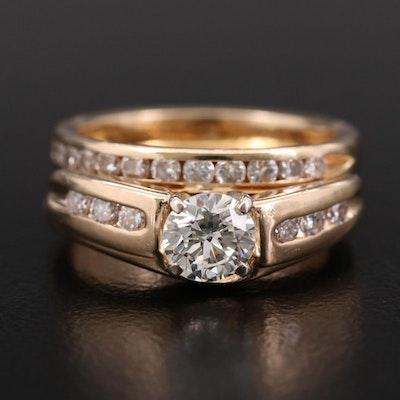 14K Yellow Gold Diamond Ring and Diamond Band