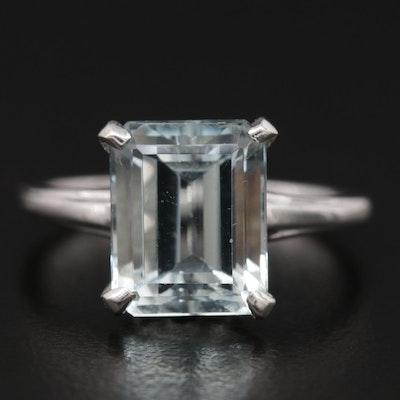 14K Gold Aquamarine Solitaire Ring
