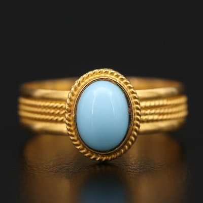 18K Yellow Gold Oval Glass Cabochon Ring
