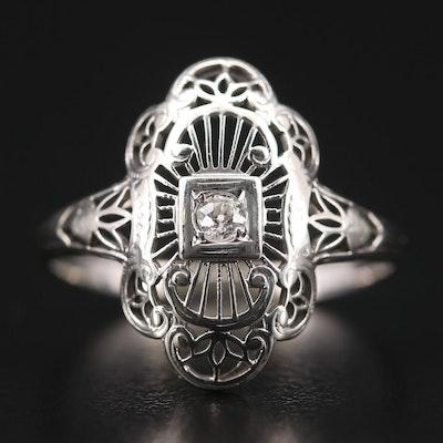 Vintage 18K White Gold Diamond Ring with Filigree Design