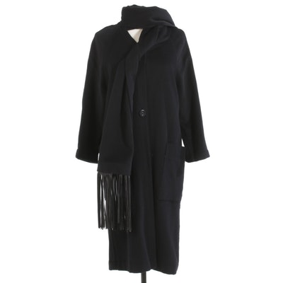Black Wool Coat with Attached Leather Fringe Shawl Collar