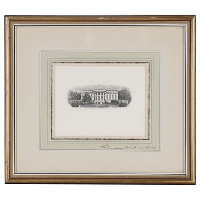 Etching of the White House Signed by Patricia Nixon, 1973