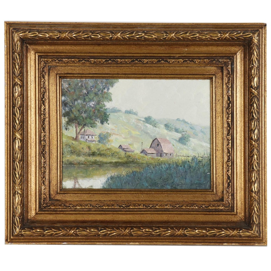 Gary Hartenhoff Oil Painting of a Farm Landscape