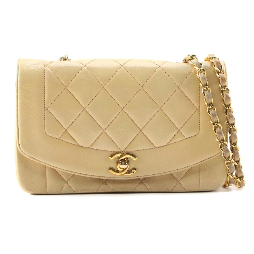 Chanel Diana Bag in Quilted Lambskin Leather, Vintage