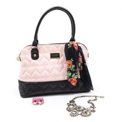 Betsey Johnson Quilted Heart Bowler Bag, Earrings and Critter Cameo Necklace