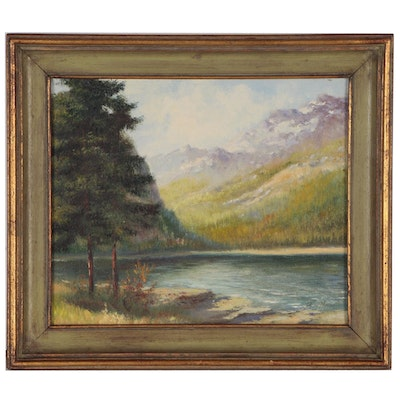 Oil Landscape Painting, Mid to Late 20th Century