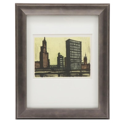 "Color Lithograph after Bernard Buffet ""New York #9,"" 1967"