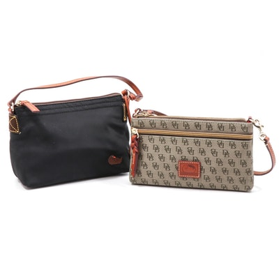 Dooney & Bourke Nylon and Canvas Handbags Trimmed in Leather