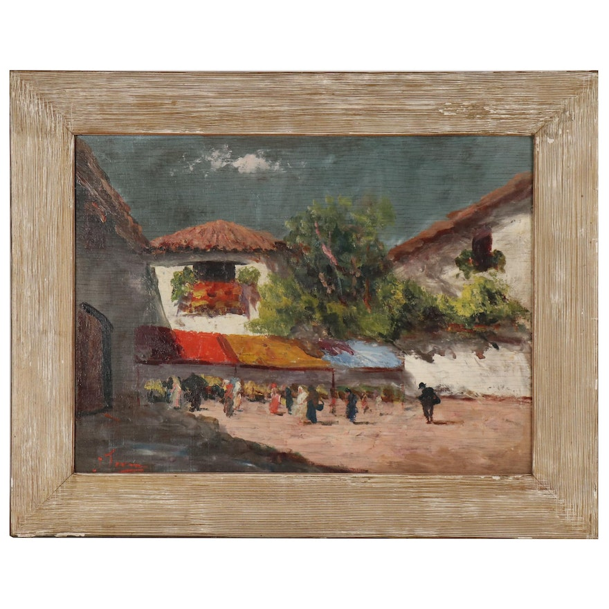 J. Torres Oil Painting of Southwestern Market Scene, Late 20th Century