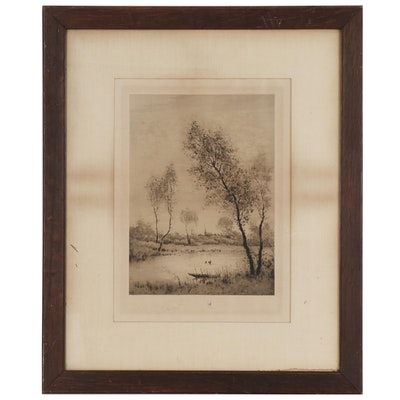 Camille Fonce Etching of Waterscape, Early 20th Century