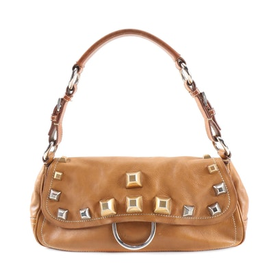 Prada Borchie Studded Baguette in Camel Tan Calf Leather