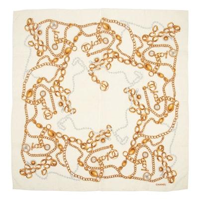Chanel Chain Belt Printed Silk Scarf