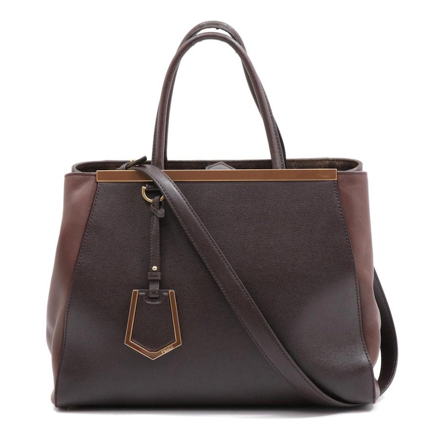 Fendi Color Block Leather Top Handle Bag with Shoulder Strap