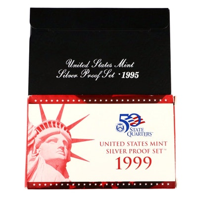 Hard to find 1999 United States Mint Silver Proof Set and 1995 Silver Proof Set