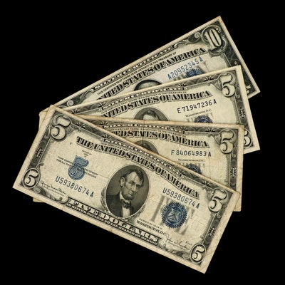 One $10 and Three $5 Silver Certificates