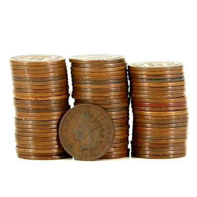 Seventy-Four Various Indian Head Cents